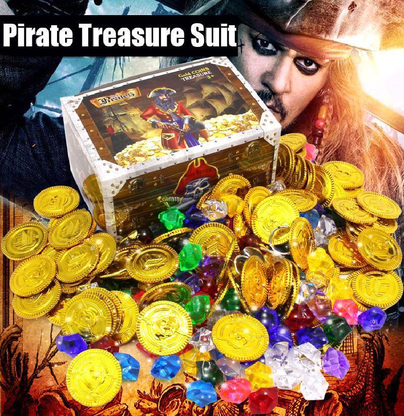Детские пиратские серии Plays Projects, коробка для монетные игрушки домашние игры, акриловые драгоценные камни познания монет, игровой чип