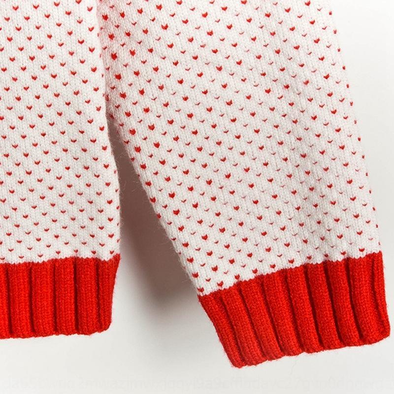 cSdLR 2019 Inverno nuova maglia di colore pullover pullover fumetto quattro a differenza maglione contrasto maniche lunghe dot W91050 del jacquard jacquard donne c