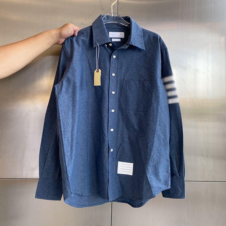 Herren- und Damenmode TB Denim Blue Casual Vier-Bar-Shirt