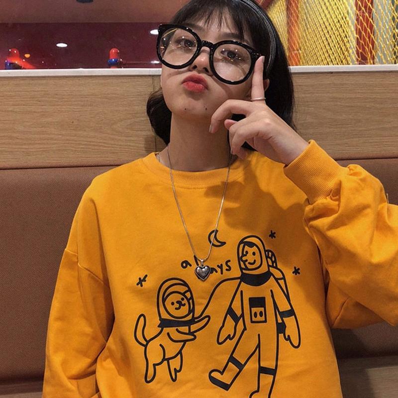 tshirt mulheres Outono nova versão coreana do oversize solta seção fina de mangas compridas em torno do pescoço das mulheres camisa de jersey casaco Harajuku PEWg #