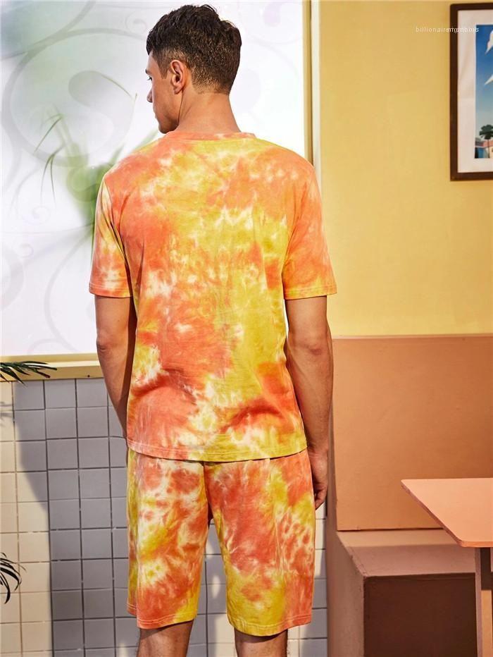 Lockere T-Shirt beiläufige mittlere Taillen-Shorts Homme Mode-Sport-Klage der Männer Sommer Anzug Kurzschluss-Hülsen O-Ansatz