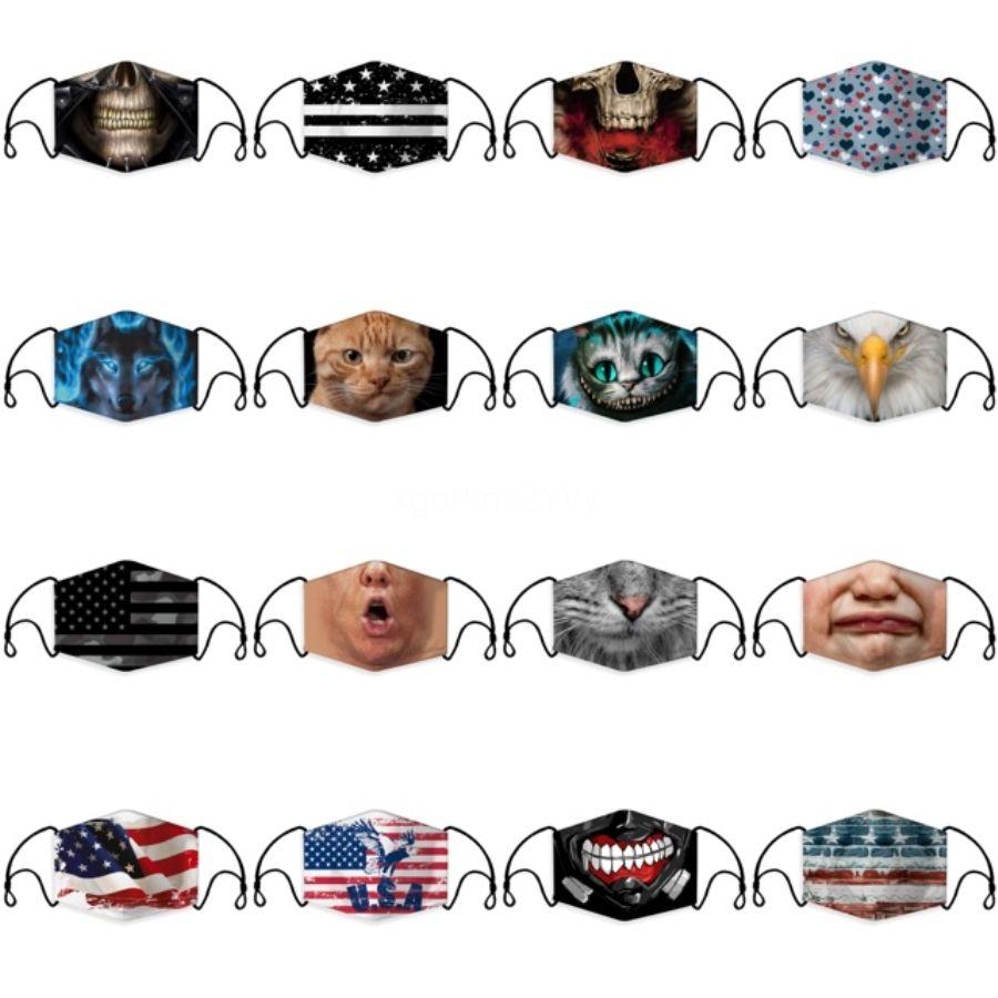 Haze práctica máscara máscaras Red Dot Printing anti Spittling polvo y arena boca cara Mascherine Filtro Un montón de 6 6GE E1 # 516