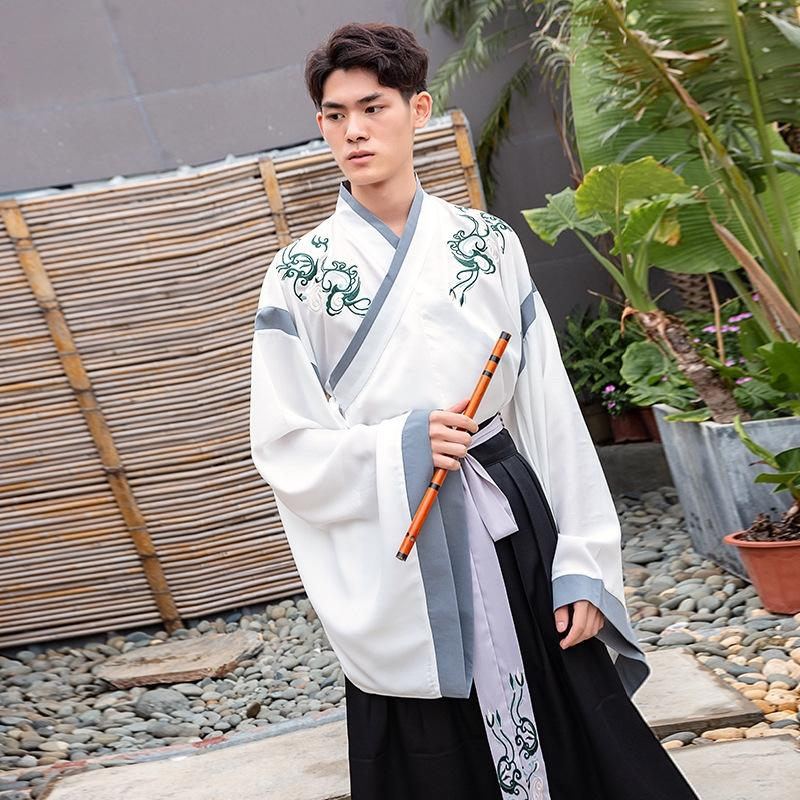 6686 Wei e Jin stile del vestito ricamato ricamo collare croce tailleur tie Jin-made superiore vestiti Han quotidiano stile cinese non-antica c