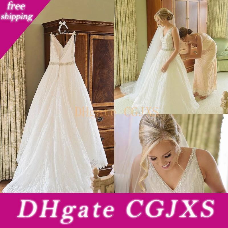 Elegante Prickelnde Hochzeitskleid mit Strass Pailletten Entwurf V Ansatz Backless Tulle Brautkleider Upscale nach Maß