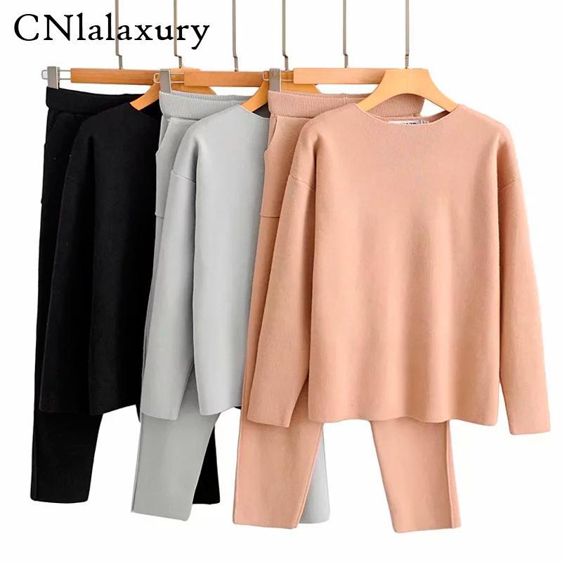 CNlalaxury Frauen Pullover Zweiteiler gestrickt Sets Schlank Anzug 2020 Herbst-Winter-Mode Sweatshirts Sportanzug Weibliche T200826