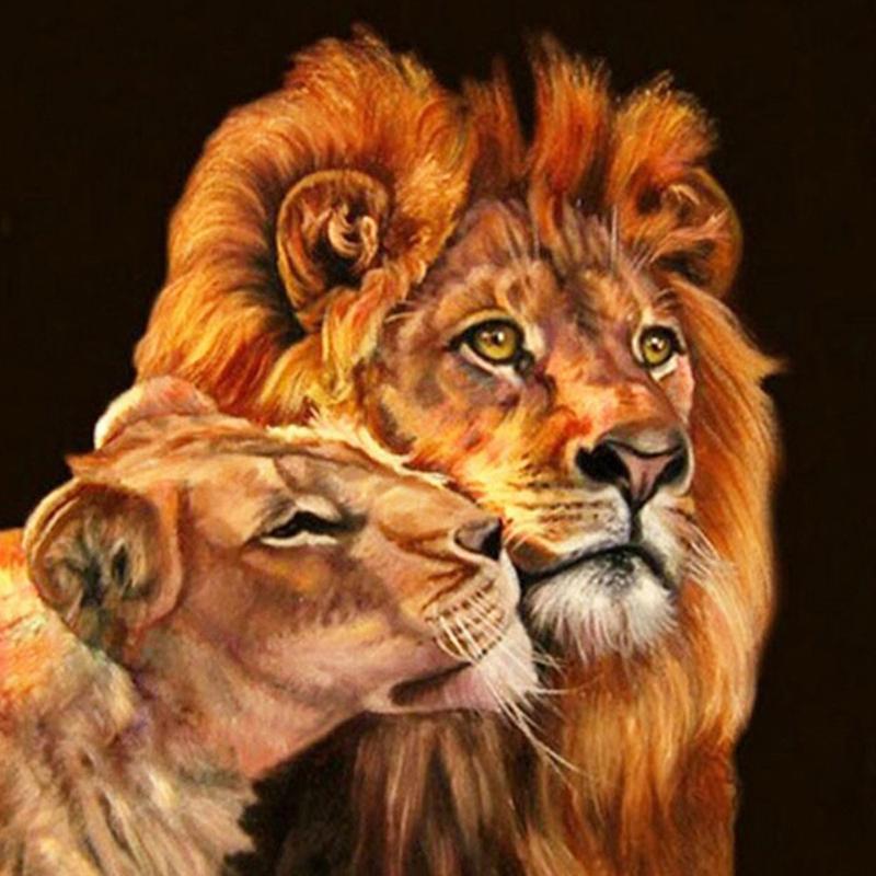 5D DIY diamante Pintura praça cheia Leão e filho Diamante Bordado Ponto Cruz Rhinestone Adesivos de parede Home Decor