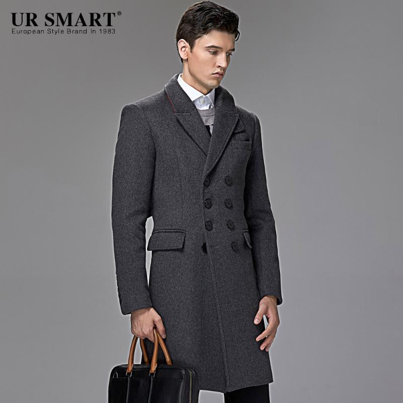 homens britânicos URSMART qiu dong longos homens em novo casaco de lã jaquetão