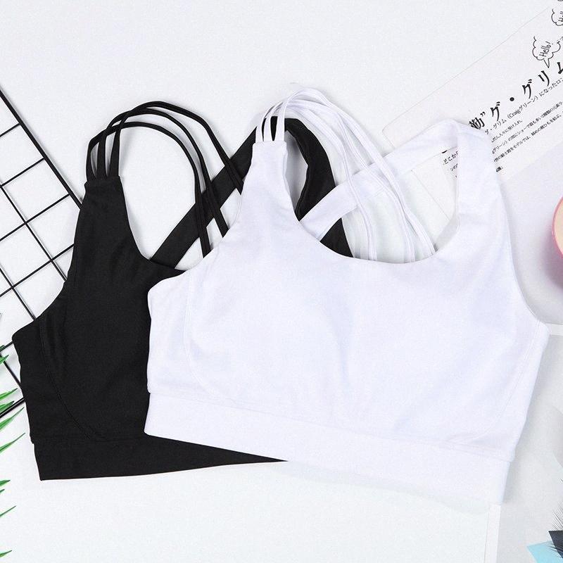 Las mujeres a prueba de golpes y transpirable aptitud que se ejecuta gimnasia Chaleco Sexy Back Deportes Bras correas cruzadas aptitud que se ejecuta Gimnasio chalecos yoga del sujetador del deporte Wk27 #