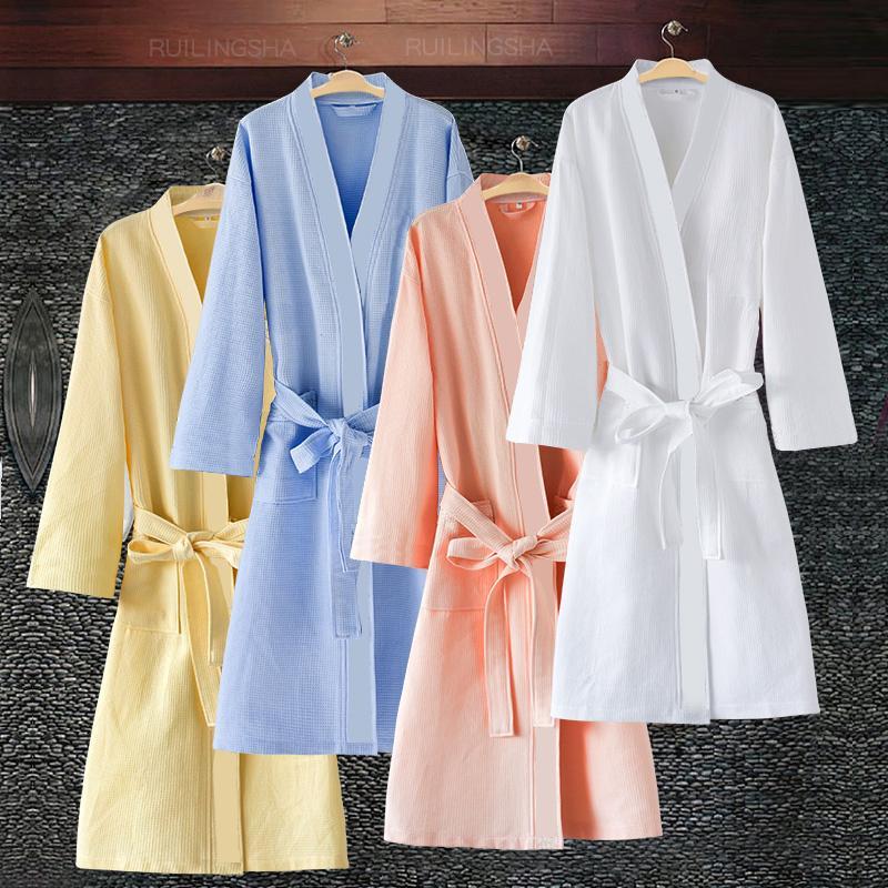 Elbise Gelinlik Elbiseler CX200818 Giyinme Satış Kadınlar Yaz Su Emme Kimono Banyo Robe Femme Seksi Moda Waffle Bornoz Lovers On