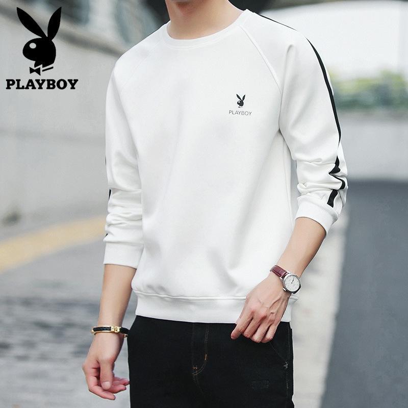 primavera larga T de la manga de los hombres Playboy y cuello redondo otoño de Corea del suéter de la tapa de la camiseta de la moda de estilo suéter camisa de la base superior delgada ocasional hombres J7