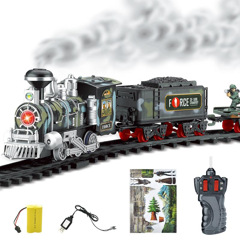 Rail Train Sets Rechargeable Classic Steam Train Toy Set Electric Smoke Remote Control Track For Children Toy Set