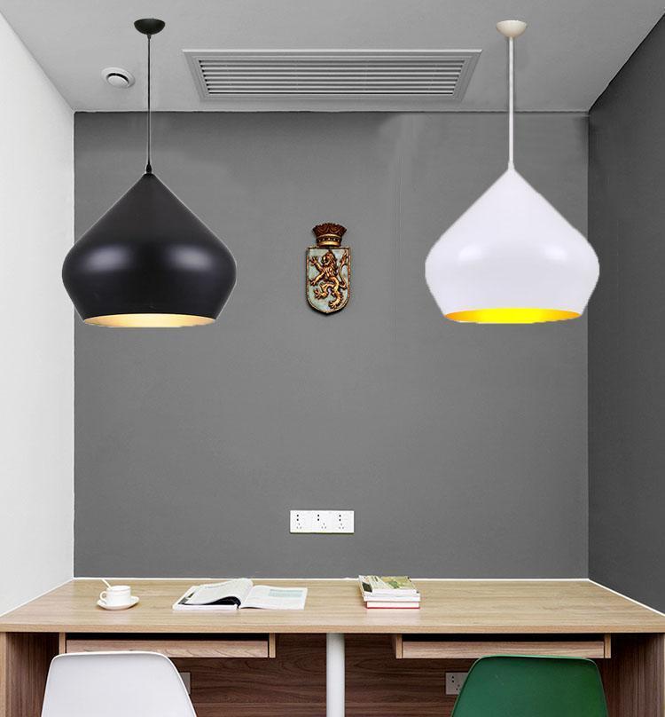 Schwarz Weiß Aluminium Pendelleuchten Lampe e27 führte Esszimmer Schlafzimmer Küche Cafe Bar Loft Gold in Pendelleuchte