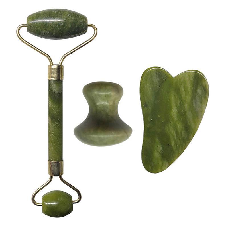 Массаж лица роликовый Зеленый Природа Джейд Роликовые Двойные головки Нефритовый камень Face Lift Tool Новая похудения лица Массажер красоты Care Set