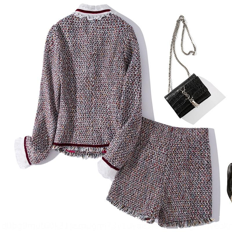 tToEZ T1356 2019 outono e inverno New Tweed tecido colarinho lace-up casaco curto casaco curto + calções terno para mulheres reduzindo a idade