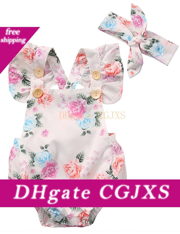 Nouveau-né bébé bébé layette col carré manches Bodysuit imprimé floral bowknot Bandeau 2pc Coton Outfi Casual