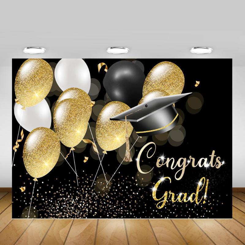 Felicidades temática del partido del graduado de Telón de fondo selfie Clase de la graduación 2020 del fondo de la bandera del brillo de oro rosa Globos fotográfico