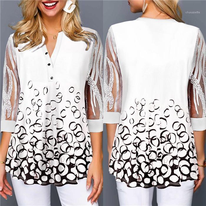 Çiçek Bluzlar 1/2 Dantel Kol Kazak V Yaka Gömlek Moda Artı boyutu Kadınlar Giyim Gevşek Kadın Tasarımcısı Tops