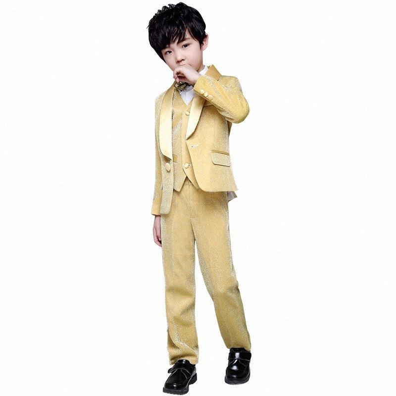 Çiçek Boy Gelinlik Suit Setleri Çocuk Altın 3PCS Podyum Piyano Kostüm Çocuk Blazer Yelek Pantolon Gömlek Giyim BPMC # ayarlar