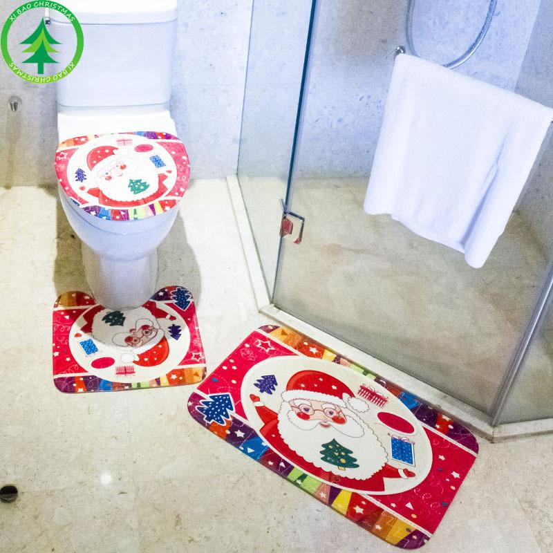 Christmas Toilet Decoration Three Pieces Christmas Creative Set Ornament Floor Mat Toilet Seat Bathroom Safety Mat