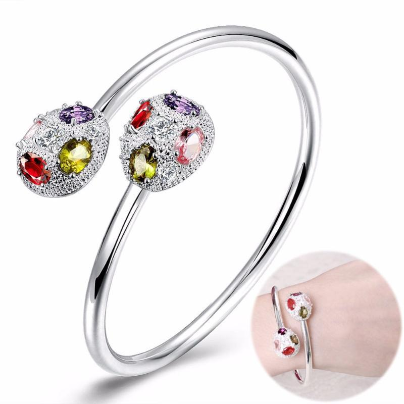 Opened-Bracelet Women Beautiful Colorful Zircon Bangle Bracelet Fashion Brand Crystal Jewelry Cuff Lady Party Accessories Gifts
