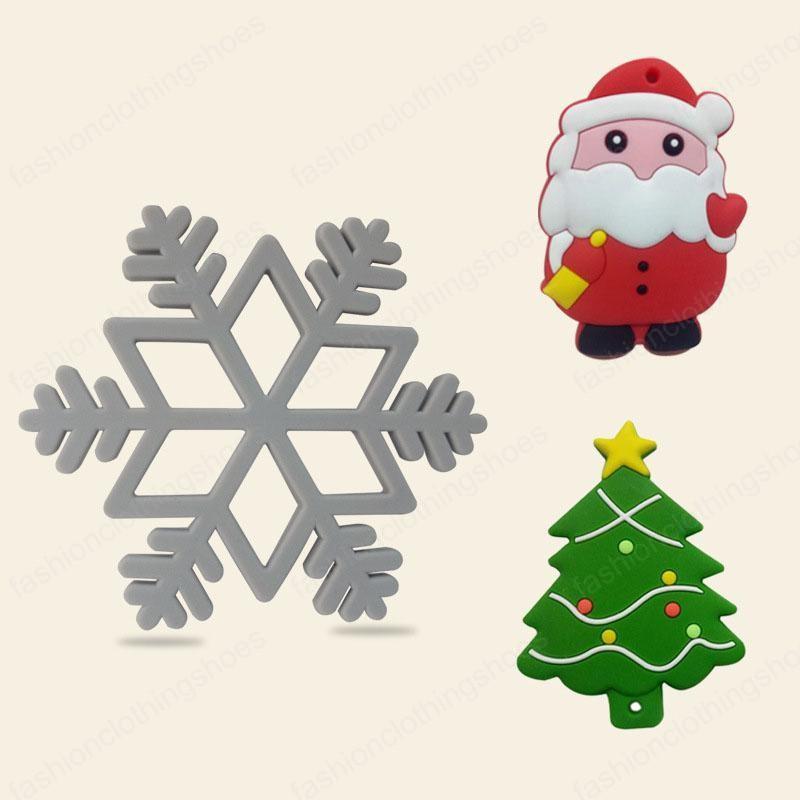 Food Grade New Baby Teehing Christmas Tree Santa Claus Snowflake Silicone Baby Teether Toys Gift
