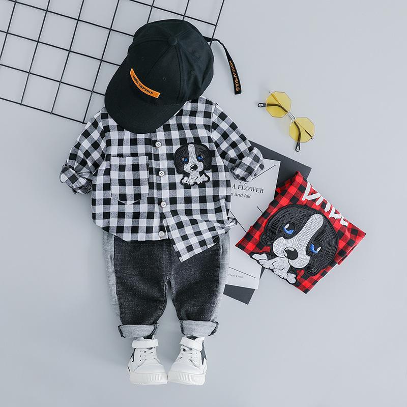 мужской отворот хлопка клетчатой рубашке Мальчик мультфильм письмо печать одежды случайные Y200803 спортивный костюм джинсы одежда