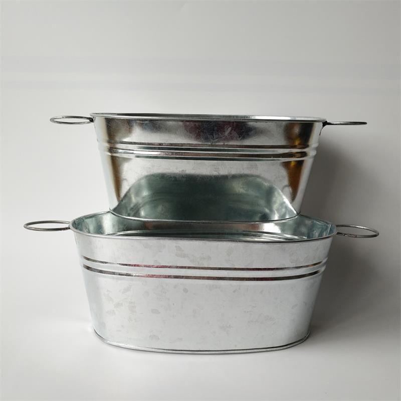 D25XH10.5cm Metal Ekici Oval Şekil Galvanizli Dekoratif Demir Gıda Depolama Konteyner Ev ve Bahçe Toptan