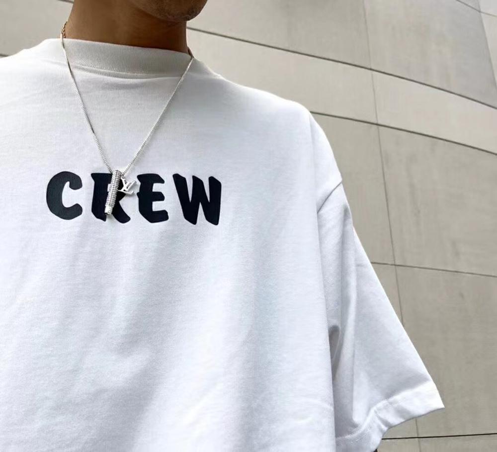 CREW Logo-Print Cotton-Jersey T-Shirt Männer Designer-T-Shirts Lustige T-Shirts Slim Fit Unisex übergroße T-Shirt-Versionen