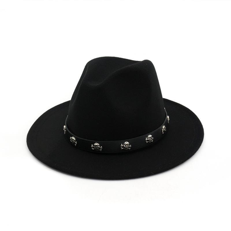 حافة واسعة القبعات 2021 الرجال النساء الصوف فيدورا قبعة مع جمجمة برشام جلد بنما الجاز