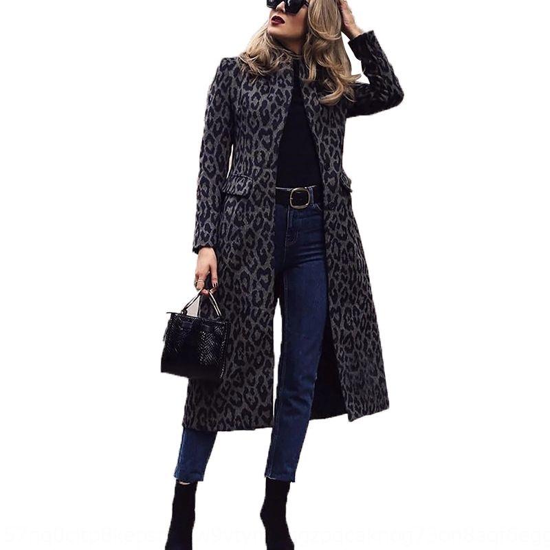 eHZNf casaco corta-vento de inverno das mulheres Windbreaker lapela manga longa meados de comprimento leopardo preto casaco de impressão