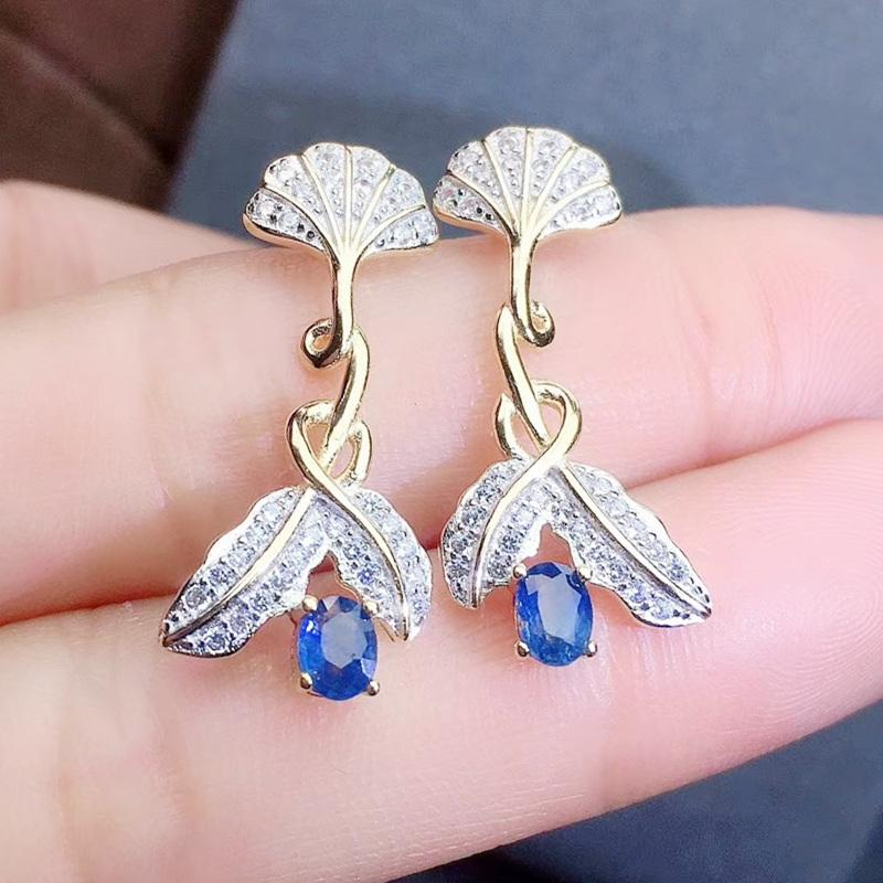 Natural real blue sapphire flower drop earring 0.35ct*2pcs gemstone Per jewelry 925 sterling silver Fine jewelry J208135