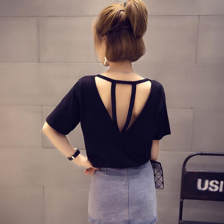 xtDdZ Voltar oca-out Sling Sling costura t-shirt roupas soltas tamanho grande desgaste do verão cor sólida T-shirt de manga curta wea irmã feminino