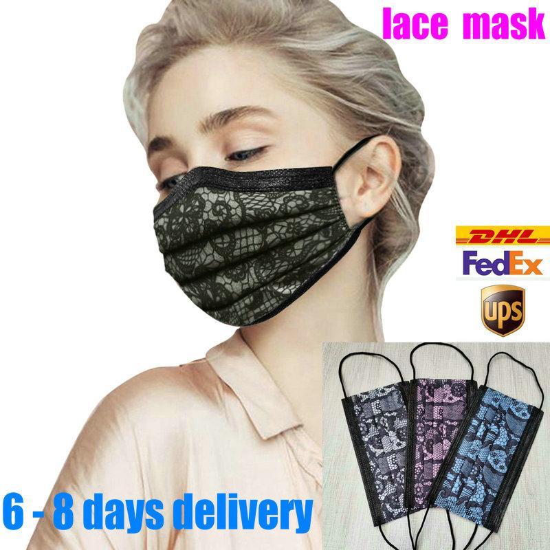 10 Ad perakende packae üst satış Tek Siyah Yüz Maskeleri Maske yazdır dantel Olmayan Dokuma Anti-Dust 3 katmanlı Aktif karbon koruyucu maske