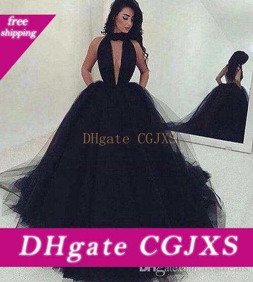 Pas cher arabe Sexy Backless robe de bal noire de bal en tulle robes longues 2020 froncé col en V profond balayage train Robes de bal Custom Made Simple