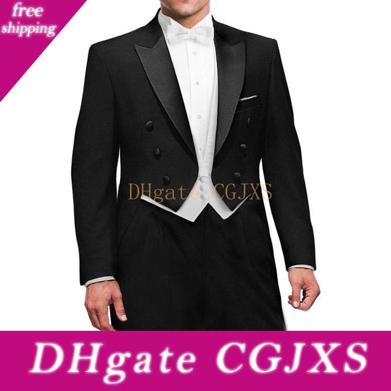 Três Peças preto do casamento do noivo Tailcoat 2018 Abotoamento repicado lapela Best Men Suits Custom Made jaqueta branca Vest Pants