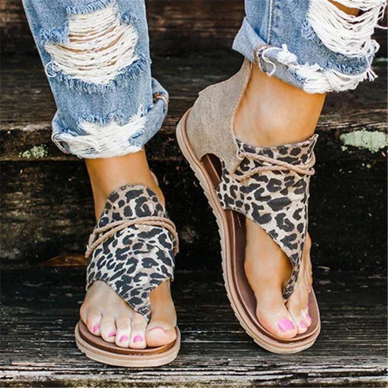 Женщины леопардовый лето сандалии фам Peep Toe крест ремень плоский с обувь Женщина Casual Zipper Гладиатор Sandalias Mujer