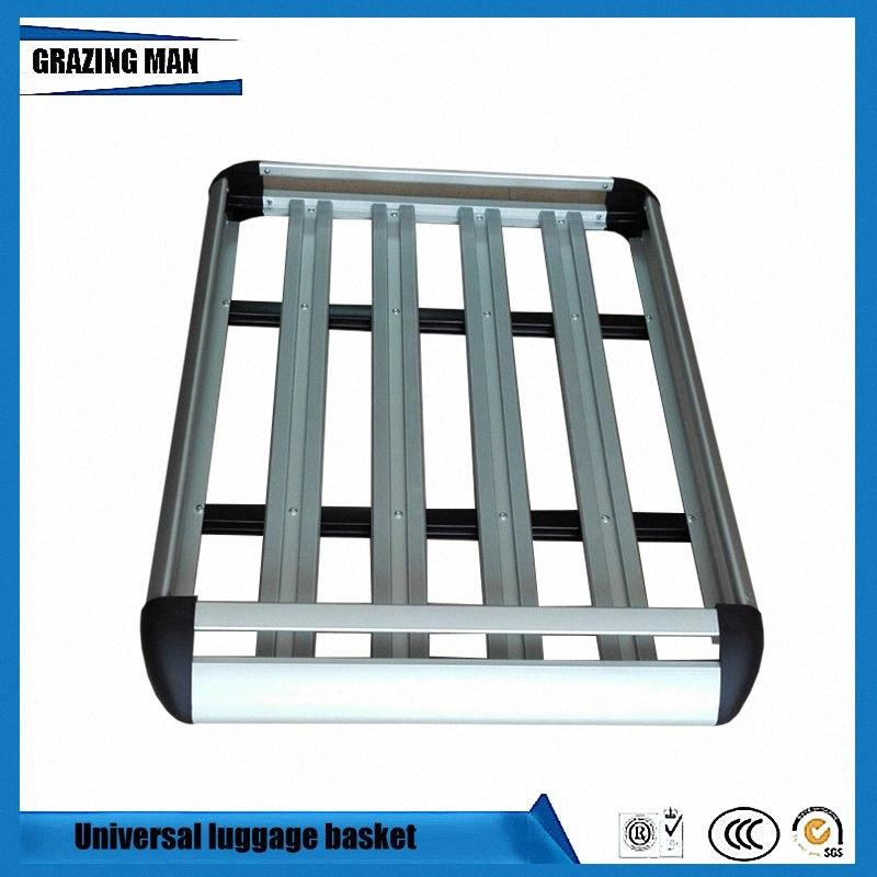 Car Roof Frame Aluminum Roof Rack Universal basket Travel Frame Double layer Luggage box 127*90 cm 9th8#