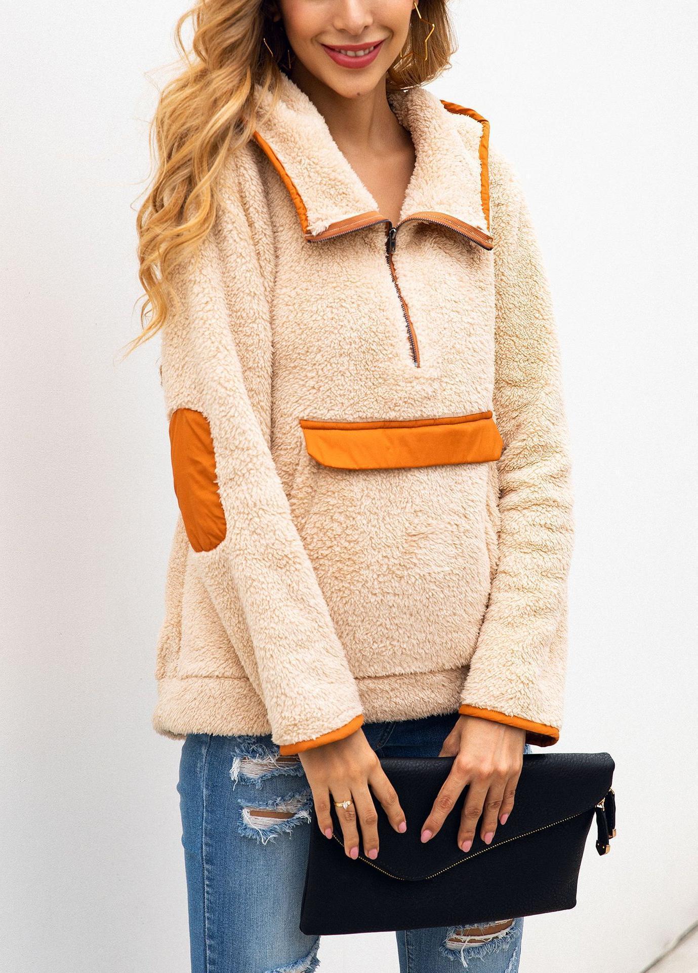 chaud mince manteau zippée polaire capuche poche automne et l'hiver zipper veste chandail à capuchon