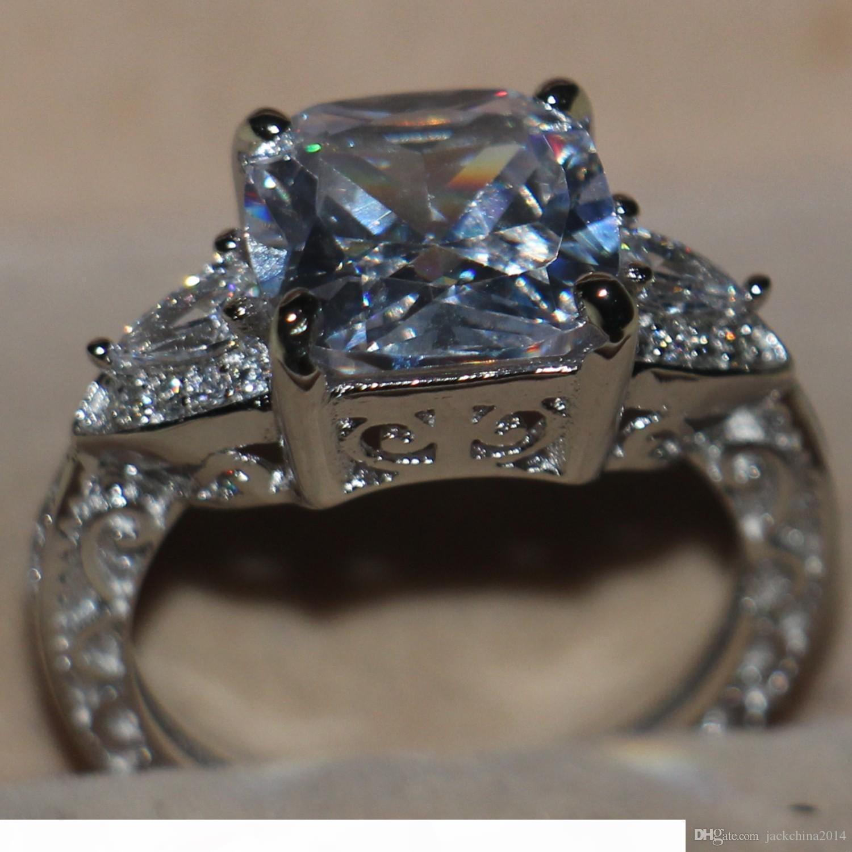 Victoria Wieck luxe Bijoux Coussin Cut 925 Trois en argent sterling Topaze blanc Pierre Simulé diamant de mariage des femmes Bague Taille 5-11
