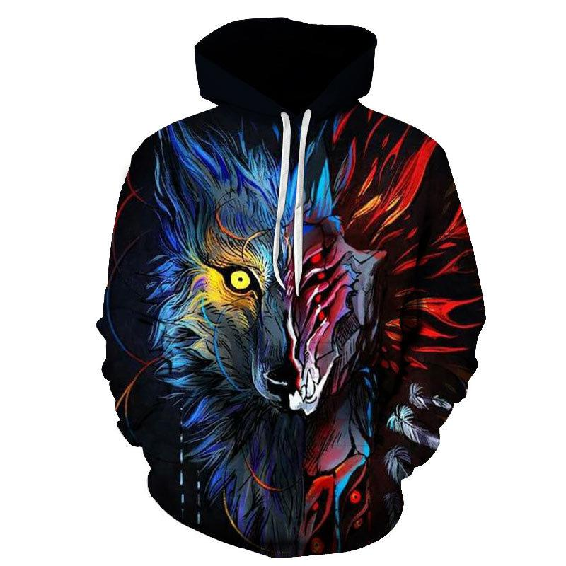 BIAOLUN mode Espace Galaxy 3D Hoodie loup lumineux Imprimer Sweat-shirts hommes unisexe pulls avec capuche animal Tops 3D 200922