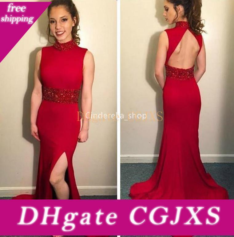 Red sirena Prom Dresses collo alto 2019 rilievo Hollow Indietro Corpetto laurea sera del partito di Gowns Abiti Cortos De Fiesta