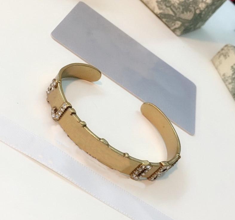 Pulseira de diamante para mulher retro estilo moda pulseira de alta qualidade latão chapeamento ouro pulseira de ouro jóias para presente