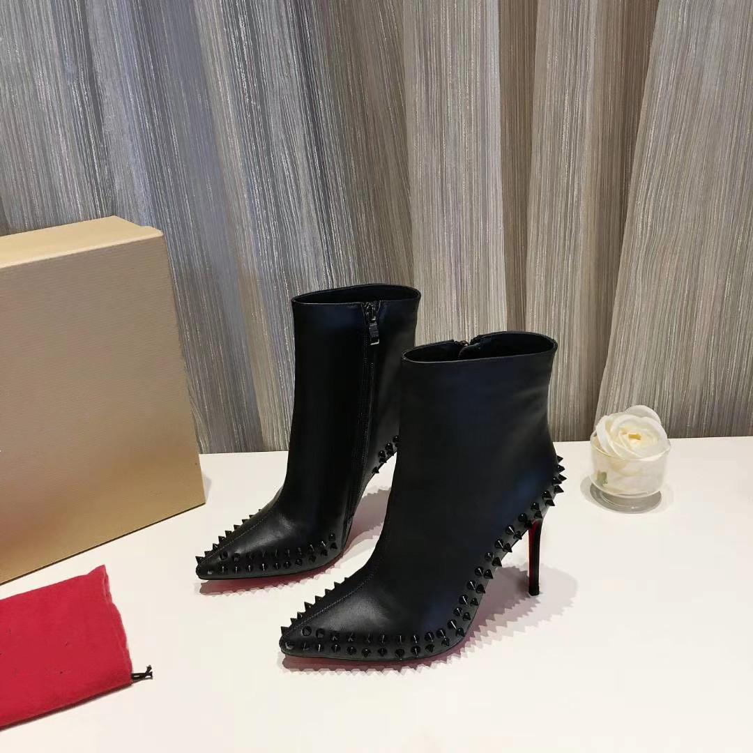 Bas Rouge Designs 100mm Talons Femmes Spikes Bottes Bottines en cuir rouge Botto Bottes pour Lady Delicotte Booty sexy en cuir noir Suede