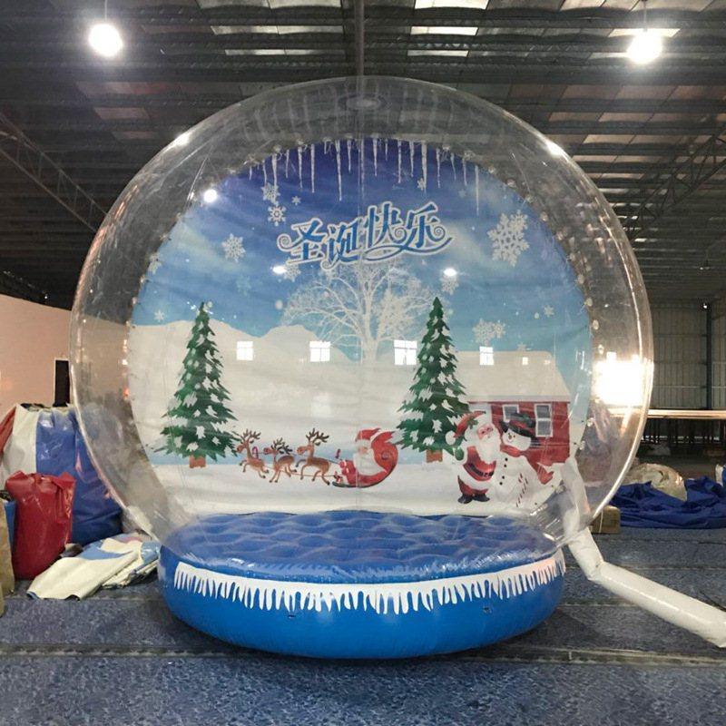 Decorazione personalizzata gonfiabile Snow Globe Photo Booth On Sale trasparente gonfiabile umana Snow Globe 3M Dia Natale Yard Snow Globe