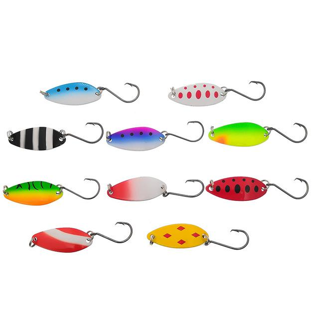 Cheap Lures 10pcs/lot 6.5g 4.1cm Fishing Tackle Bait Fishing Metal Spoon Lure Bait For Trout Bass Spoons Small Hard Sequins Spinner Spoon