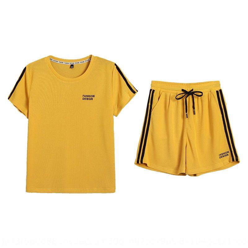 esportes da forma do terno verão das mulheres Sportswear e calções roupas temperamento estrangeira 2020 novo estilo coreano shorts soltos de mangas curtas casuais
