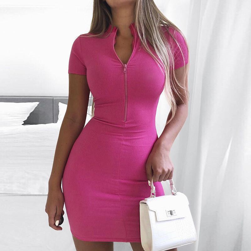 Цвет одежды Женских панелей летних женщины конструктора платье Мода Zipper с коротким рукавом Дамы платье Sexy Твердый