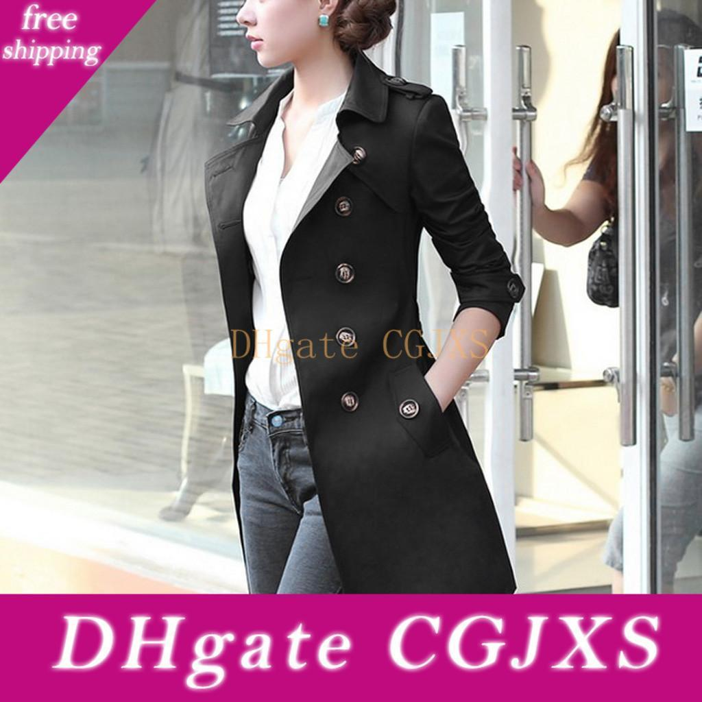 2020 Trench Coat Fashion Long Sleeve Button Spring Women &#039 ;S Raincoat Casual Pocket Women &#039 ;S Windbreaker Plus Size Long Coat Wome