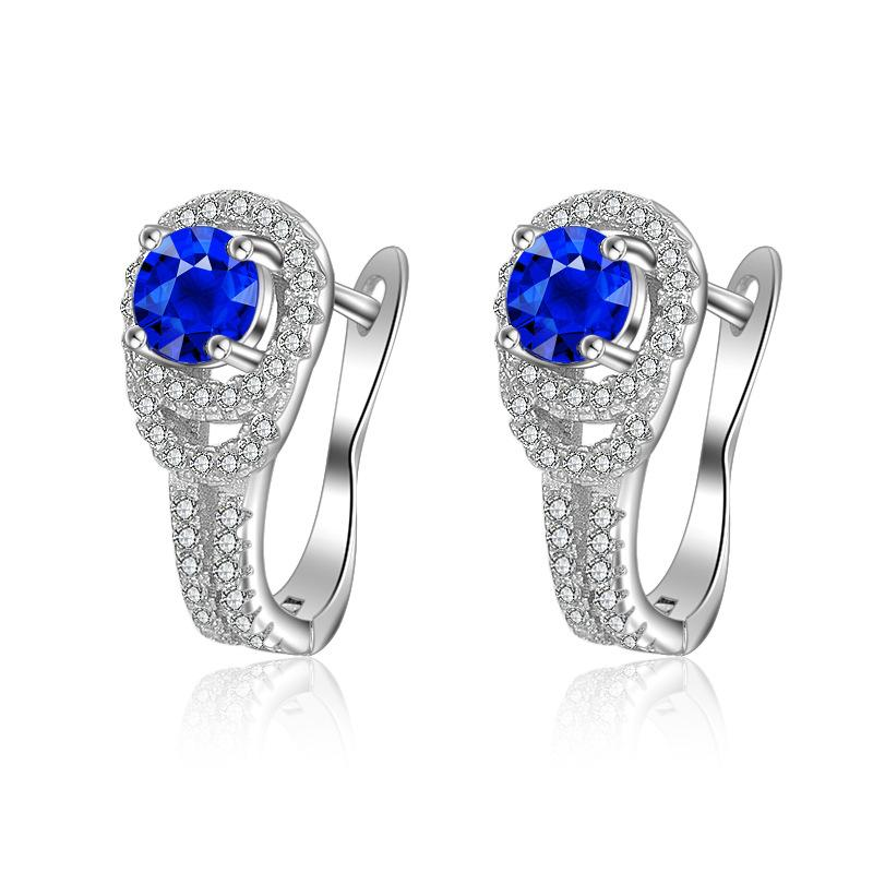 925 Sterling Silver color White Gold Sapphire Clip Earring U Shape Retro Hollow Micro Inlaid Full Diamond Clip Earring Jewelry