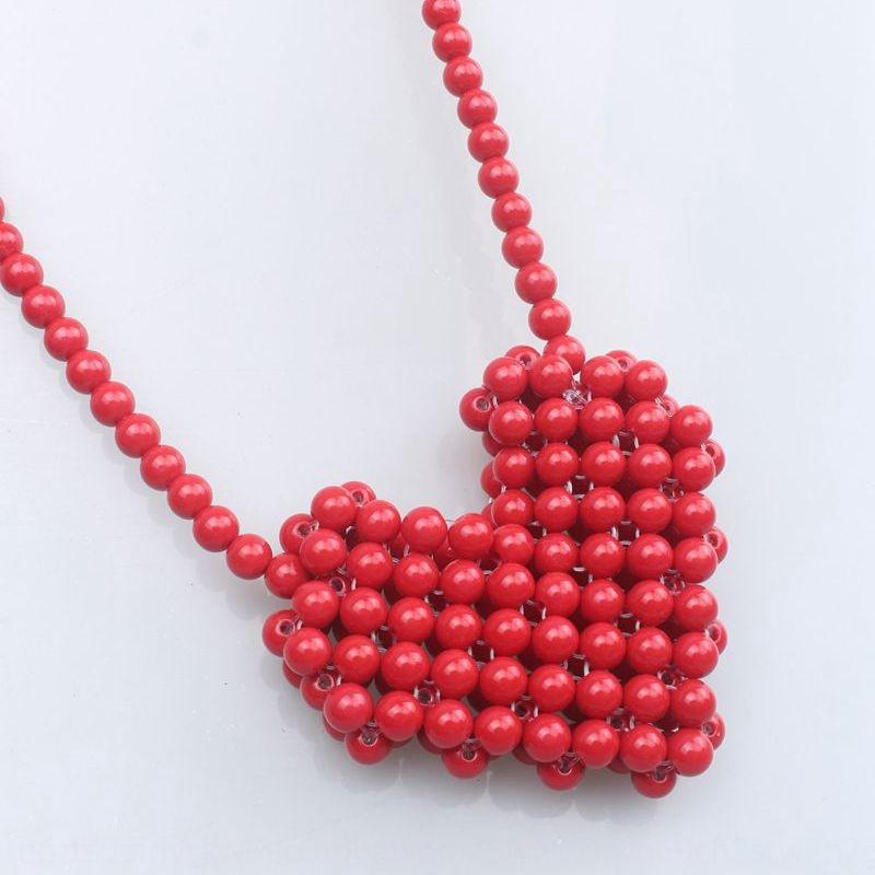 Muxi Red love Beaded Lipstick beaded fashion all-match parent-child small bag women's crossbody woven all-Match mini lipstick bag
